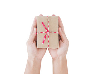 Parcel gift box on hand, isolated on white background
