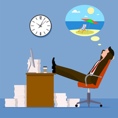 Office worker of a dream of a summer vacation.