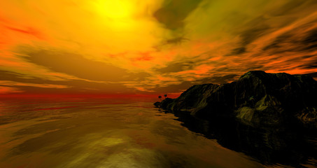 Stunning sunrise over the ocean with beautiful red clouds 3 rendering