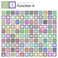 Line and Black Vector Icons - Function A - Color