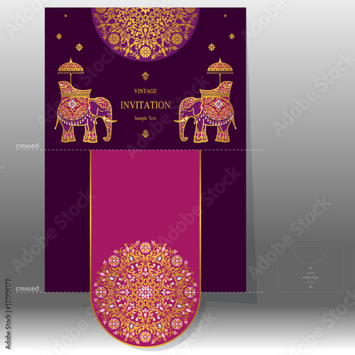 Indian Wedding Invitation Card Templates With Gold Elephant