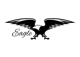 Black american eagle with spread wings icon