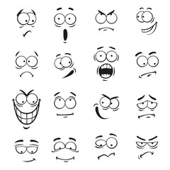 Human cartoon emoticon faces with expressions