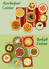 Turkish and azerbaijani cuisine dinner dishes icon