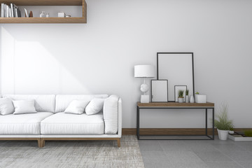 3d rendering sofa in white living room with beautiful decor