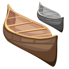 Classic wooden boat in cartoon style. Vector