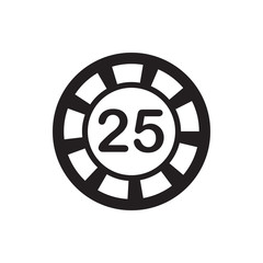25 casino chip icon illustration