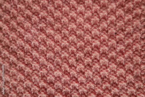 Moss Stitch Knitting Background With Pastel Pink Wool Stock Photo