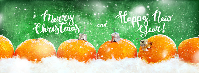 New Year Tangerines Row Line Isolated Green