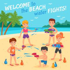 Beach Water Fights Illustration