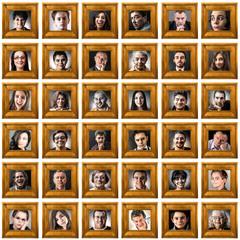 ritratti di persone in cornice fondo bianco