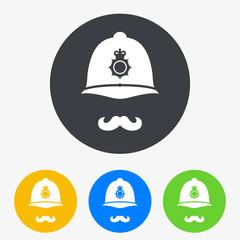 Icono plano casco policia britanico con bigote en circulo varios colores