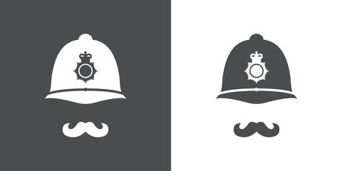 Icono plano casco policia britanico con bigote gris y blanco