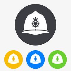 Icono plano casco policia britanico en circulo varios colores