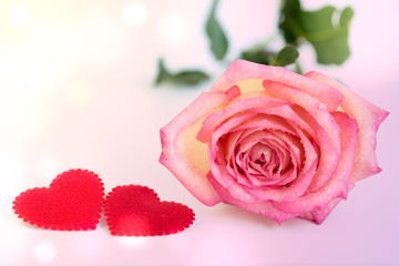 Pink rose with two red hearts
