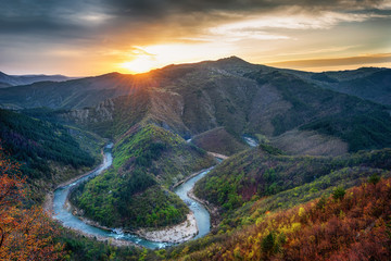 Spring morning along the Arda river, Rhodope Mountains, Bulgaria