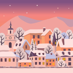Winter city with snow-covered roofs. Vector Christmas card.