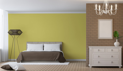 Modern Bedroom interior 3d rendering image.There are decorate wall with brick pattern and empty wall paint with yellow colour. There are white vintage shelf and empty picture frame