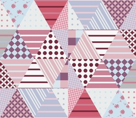 Ethnic patchwork pattern in pink and grey tones. Seamless background. Vector illustration of quilting.