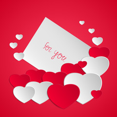 Happy Valentine's day. Valentine greeting card with hearts. Love romantic messages. Vector illustration