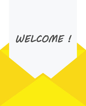 Paper in envelope with welcome
