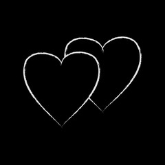 Heart two white isolated