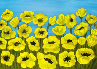 Yellow poppies, painting
