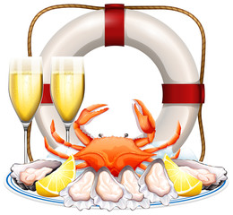 Seafood on the plate with champagne glasses