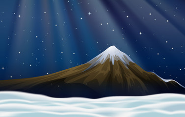 Background scene with moutain at night