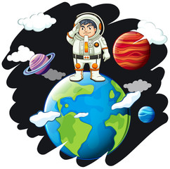 Astronaunt standing on the earth