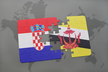 puzzle with the national flag of croatia and brunei on a world map