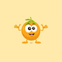 Illustration of cute orange decisive mascot isolated on light orange background.