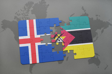puzzle with the national flag of iceland and mozambique on a world map
