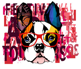 Wall Murals Art Studio Portrait of french bulldog wearing sunglasses