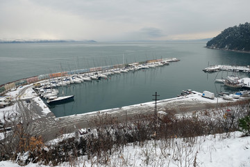 Trilye (Tirilye / Zeytinbagi) Harbor in winter