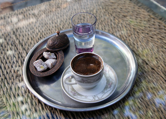 Traditional Turkish coffee and Turkish delight in  metal tray in Beypazarı, Ankara, Turkey