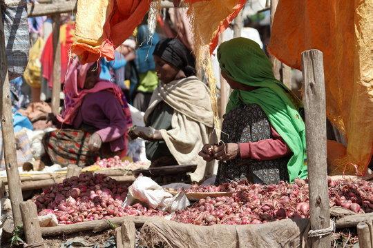 Der Marktplatz von Debark in Äthiopien