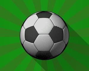 Engraving soccer ball on shining grenn BG