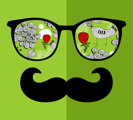 Abstract face of man in glasses.
