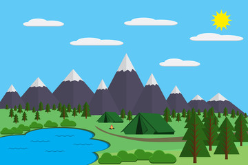 Foto op Plexiglas Lichtblauw Mountains with forest and lake landscape flat vector illustration, for camping and hiking, Extreme sports, outdoor adventure, with recreation place, tents and fire