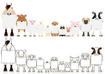 farm animals with board border set