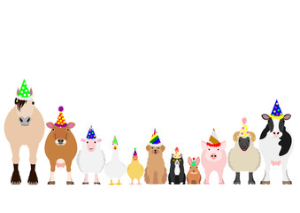 farm animals with party hat border set