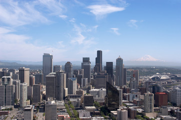 Downtown Seattle skyline with Mt. Rainier in the background