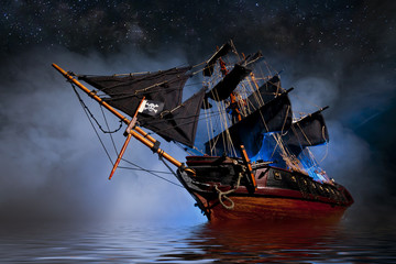 Wall Murals Ship Model Pirate Ship with fog and water