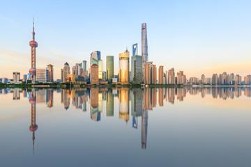 Shanghai skyline on the Huangpu River at dusk,China
