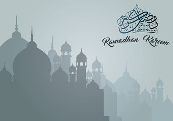 Ramadan Kareem Greeting with Mosque and Arabic Calligraphy Design Elements
