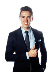 young pretty business man standing on white background, modern hairstyle, posing emotional, lifestyle people concept
