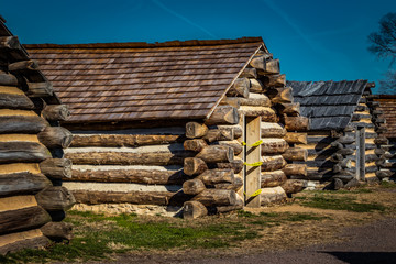 Row of Soldiers Cabins  at Valley Forge PA