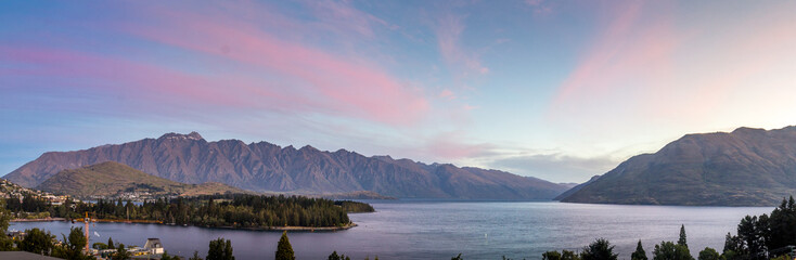Canvas Prints New Zealand Lake Wakatipu, Queenstown, sunset