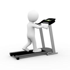 3d man walking on treadmill